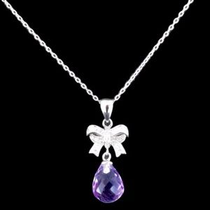 Jewelry - 💜AFRICAN AMETHYST BRIOLETTE➕CZ BOW NECKLACE💜